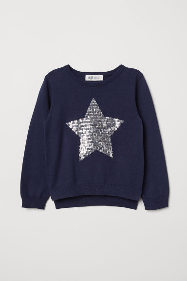 Jumper with a sequined motif - Dark blue/Star - Kids | H&M