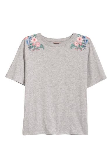 H&M+ Top with embroidery - Light grey -  | H&M IE