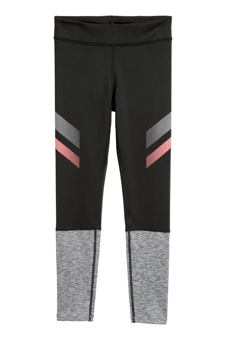 Sports tights - Black/Grey marl - Kids | H&M