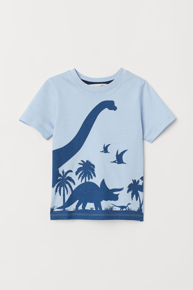 Printed T-shirt - Light blue/Dinosaurs -  | H&M CN