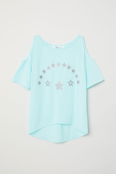 Cold shoulder top - Turquoise/Stars - Kids | H&M
