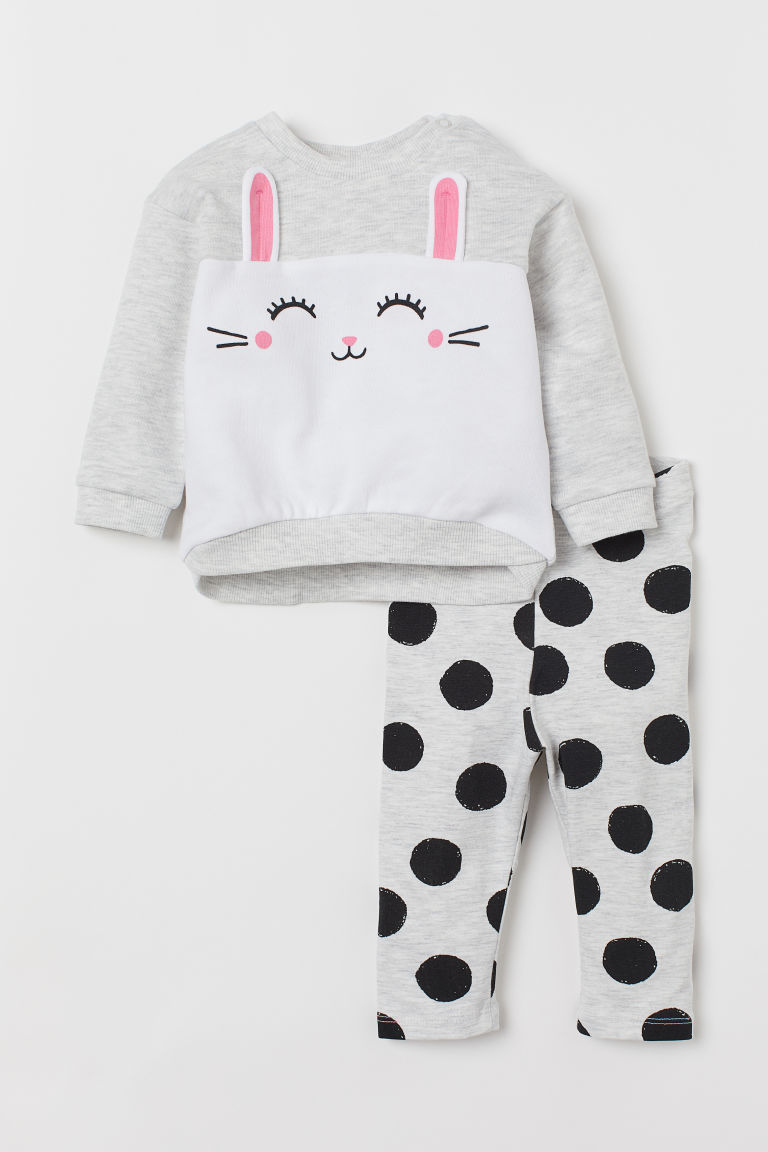 Sweatshirt and leggings - Light grey marl/Rabbit - Kids | H&M