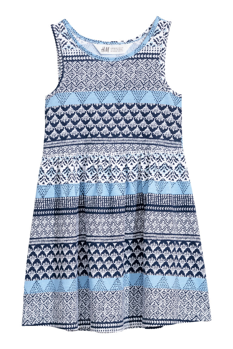 Sleeveless jersey dress - White/Blue patterned - Kids | H&M GB