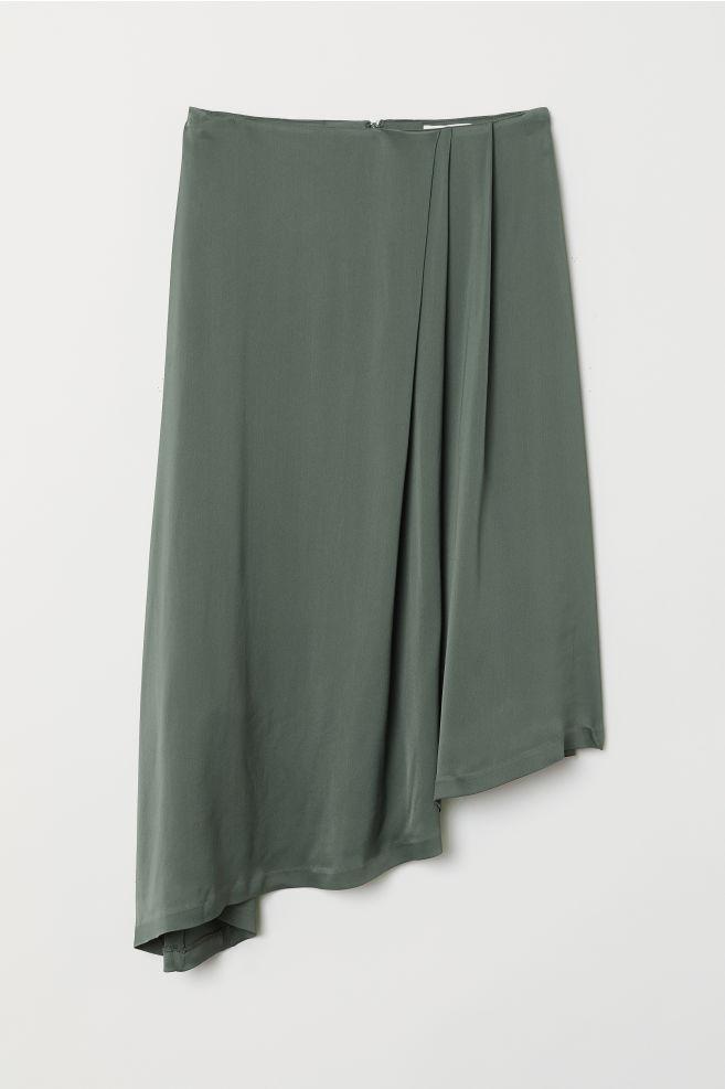 537887a7b03d Asymmetrisk nederdel - Støvet grøn - DAME