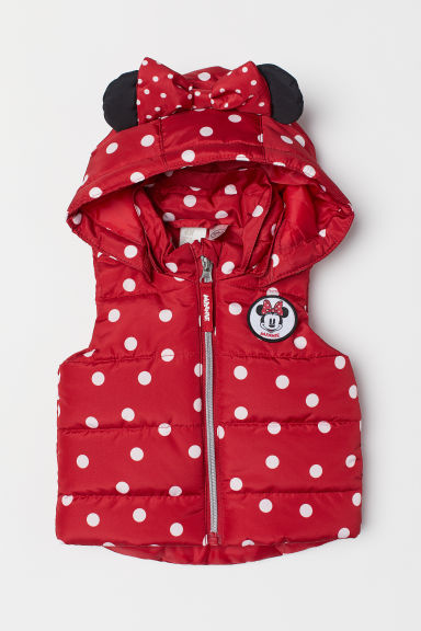 Padded gilet with a hood - Red/Minnie Mouse - Kids | H&M CN