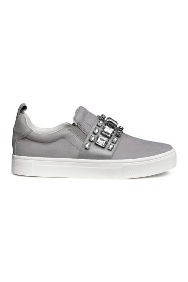 Sneakers with Appliqués - Light gray - Ladies | H&M US