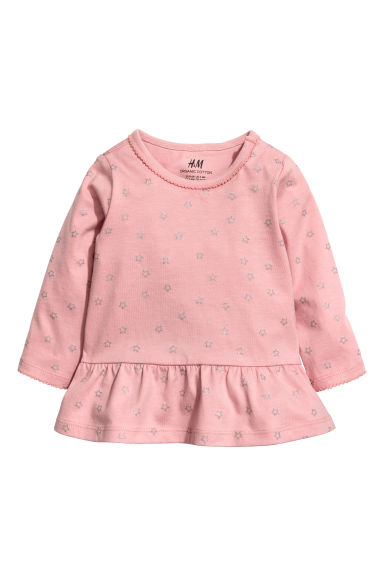 Flounced top - Powder pink/Stars - Kids | H&M CN