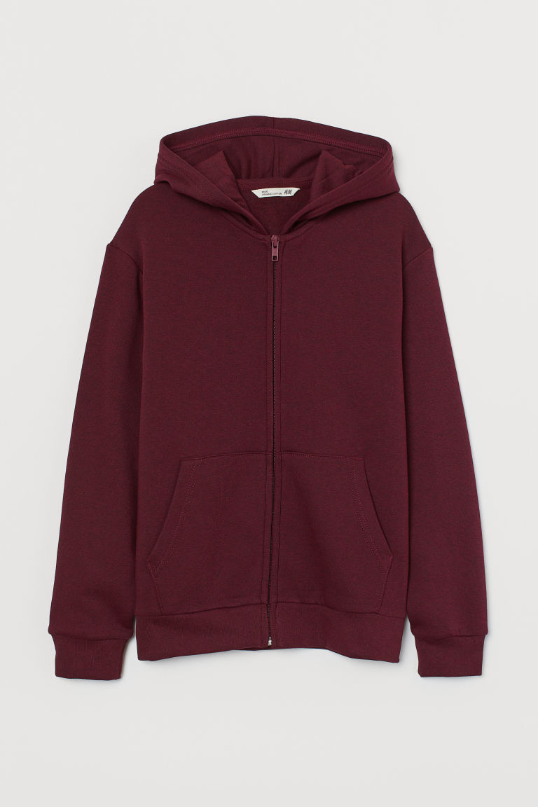Hooded Jacket - Dark red melange - Kids | H&M CA