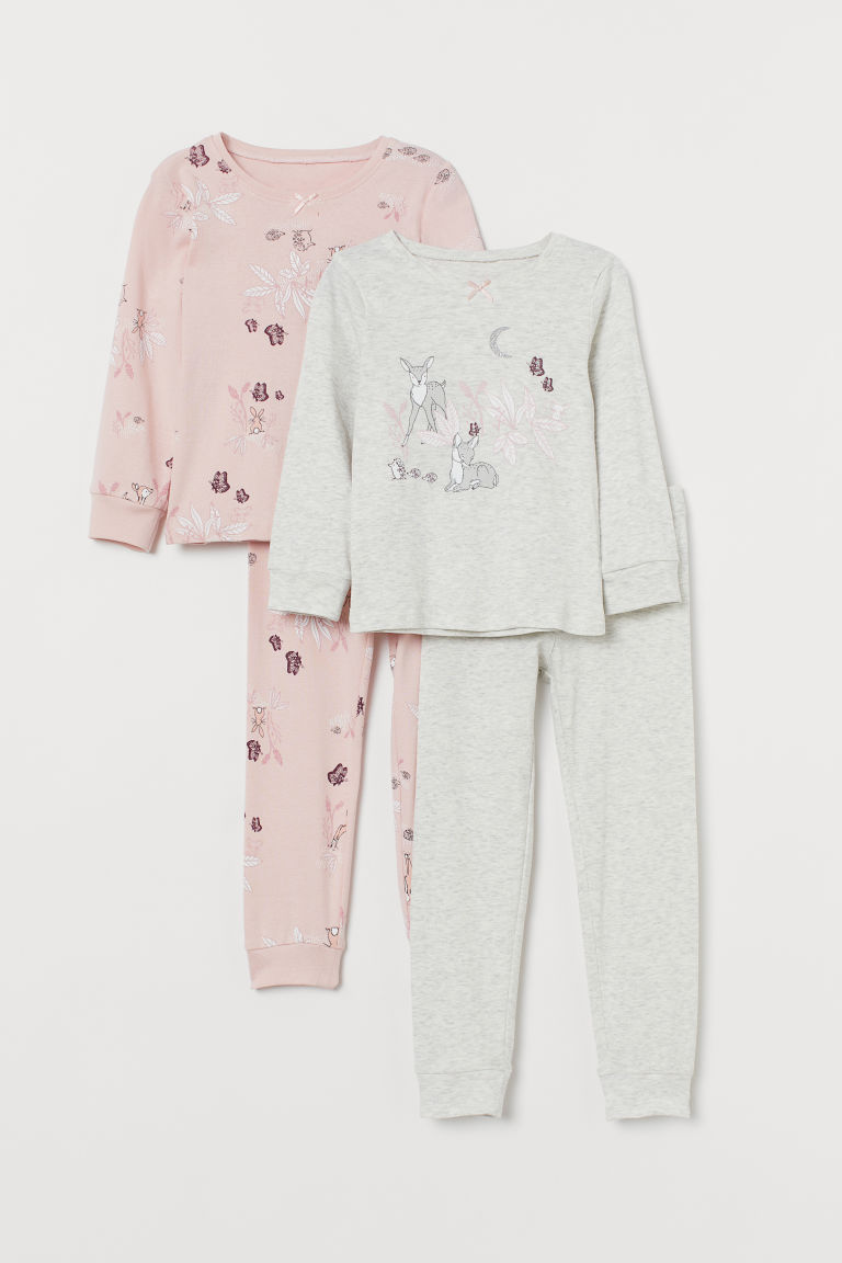 2-pack jersey pyjamas - Light pink/Forest animals - Kids | H&M