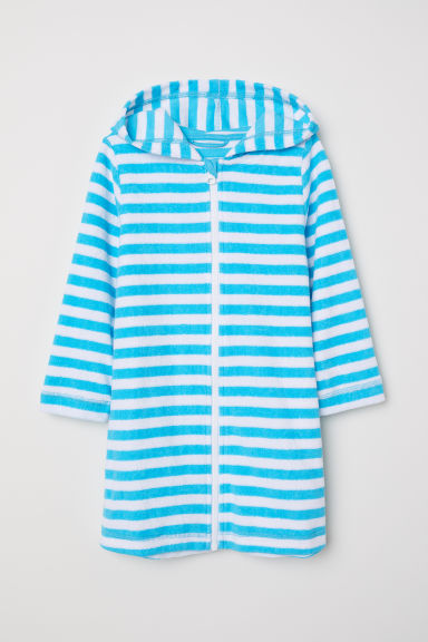 Hooded dressing gown - Light turquoise/White striped - Kids | H&M