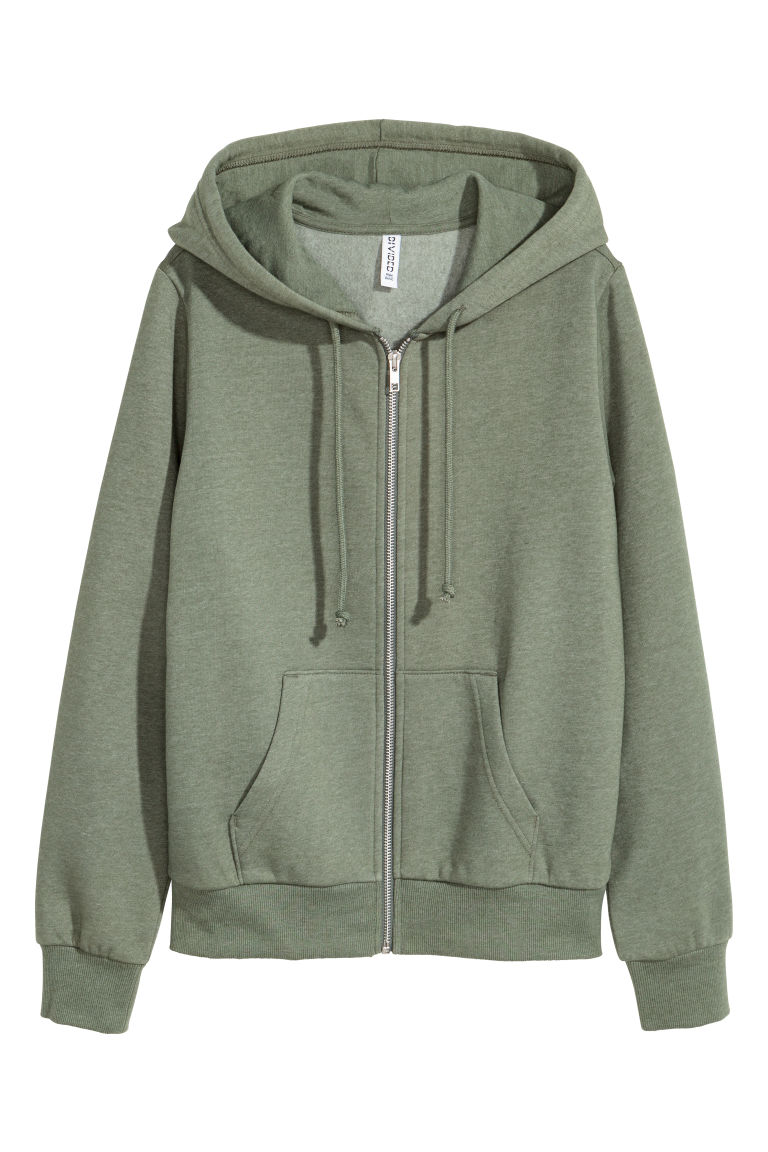 Hooded jacket - Khaki green -  | H&M