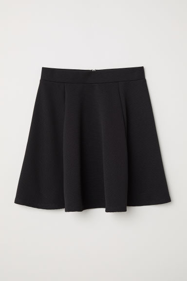 Skater skirt - Black/Ribbed texture - Ladies | H&M