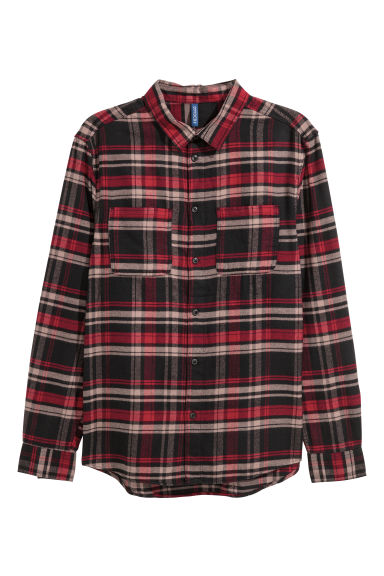 Flannel shirt - Black/Red checked -  | H&M