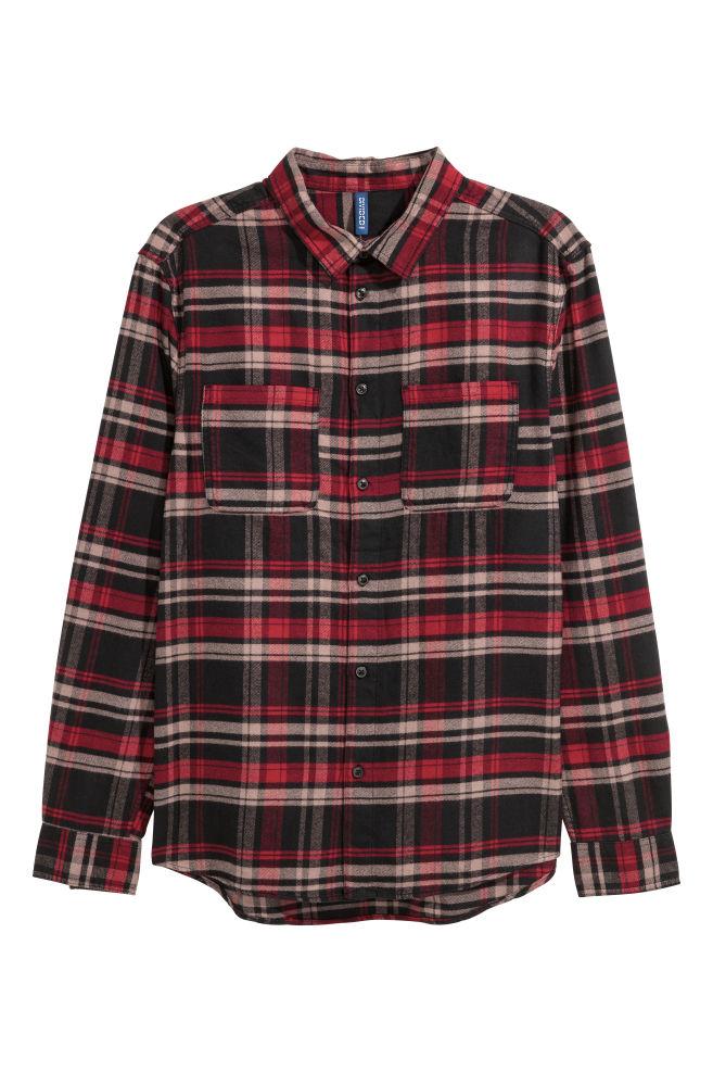 e8d3aff8 Flanellskjorte - Sort/Rød rutet - HERRE | H&M ...