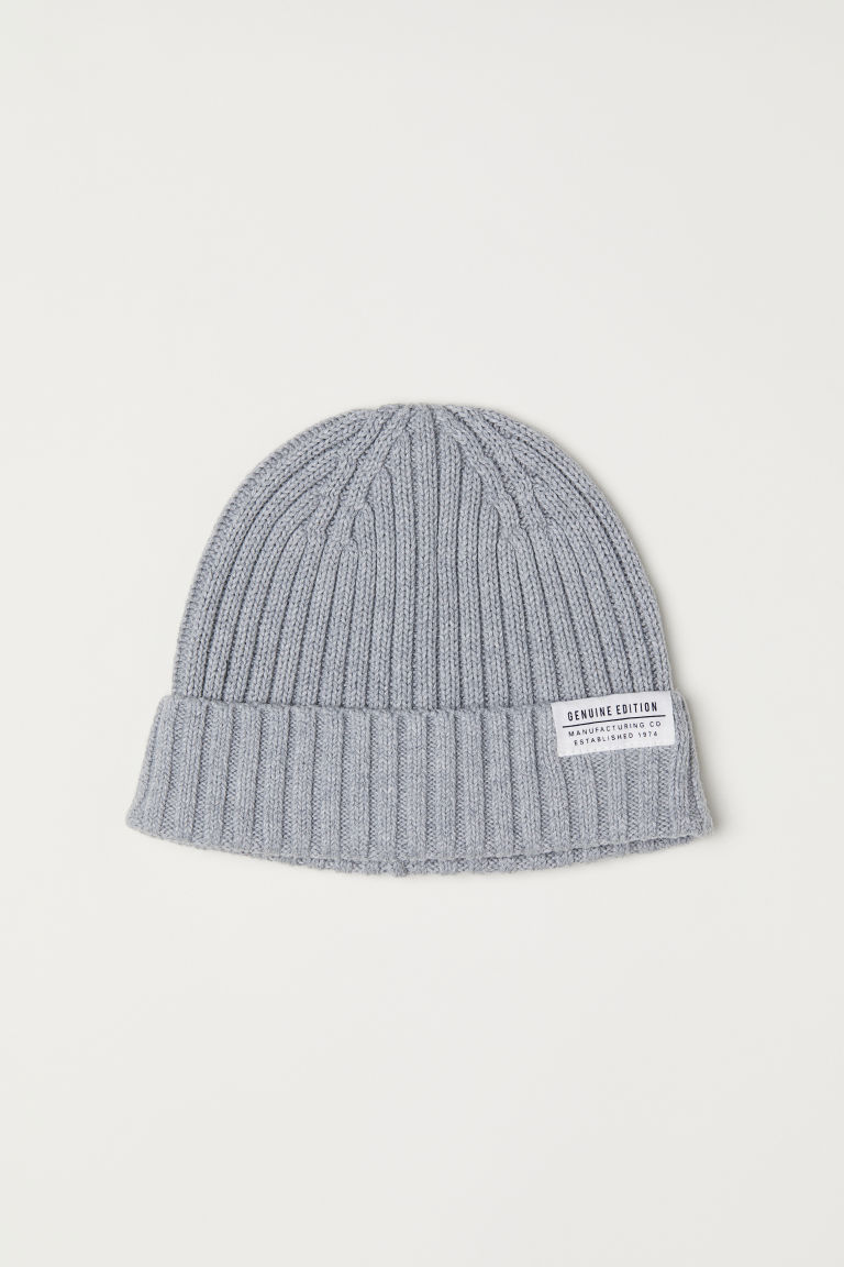 Rib-knit hat - Light grey marl - Men | H&M