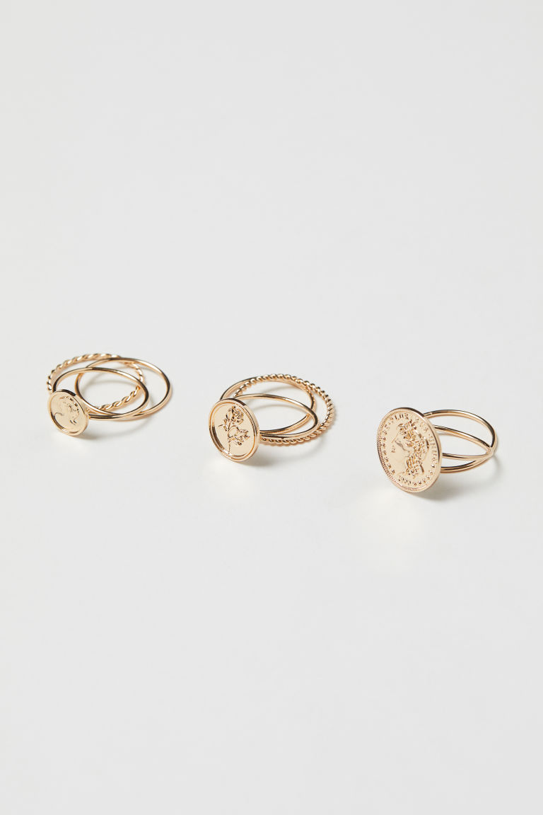 8-pack rings - Gold-coloured - Ladies | H&M IE