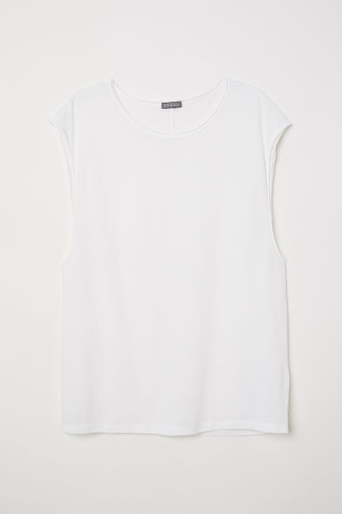 Raw-edge vest top - White - Men | H&M