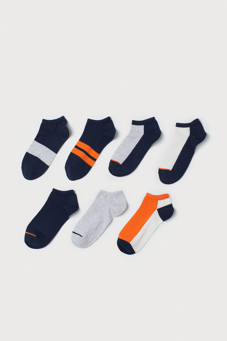 7-pack trainer socks - Dark blue/Block-coloured - Men | H&M IE