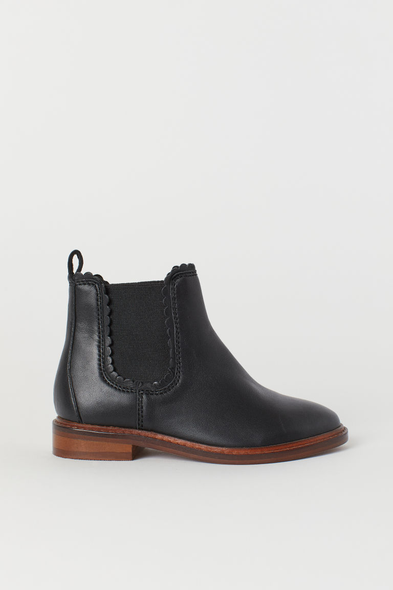 Leather Chelsea boots - Black - Kids | H&M