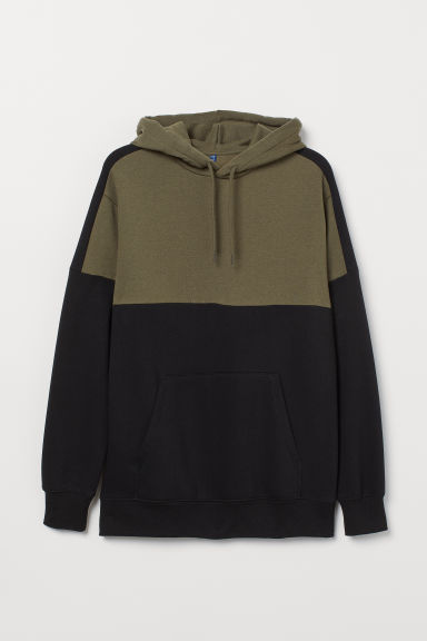 Block-patterned hooded top - Khaki green/Black -  | H&M CN