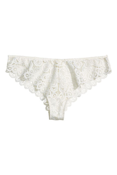 Lace Brazilian briefs - White - Ladies | H&M