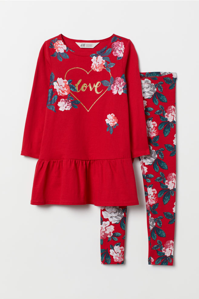 a04038bc74da7 Dress and leggings - Red/Flowers - Kids | H&M ...