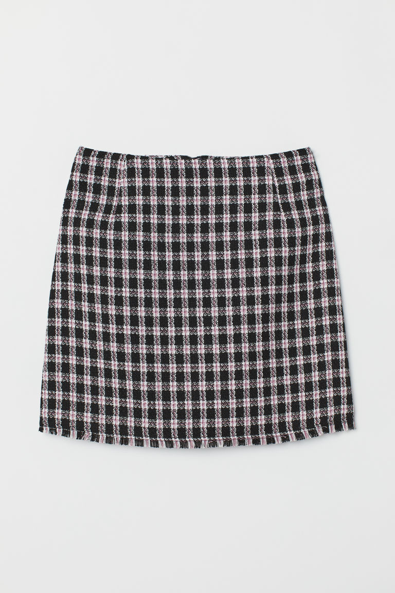 Jacquard-weave skirt - Black/Pink checked -  | H&M
