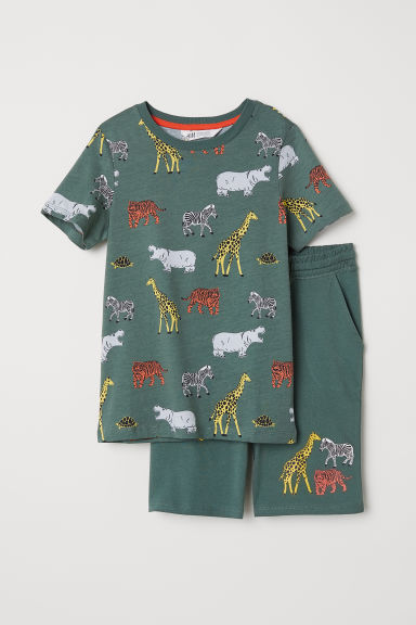 Shorts e T-shirt - Verde scuro/animali - BAMBINO | H&M IT