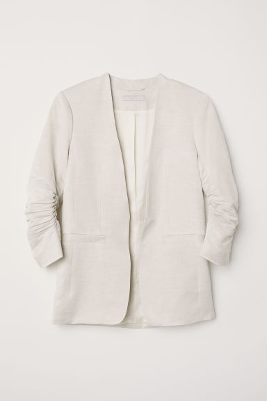 Linen-blend jacket - Light grey -  | H&M CN