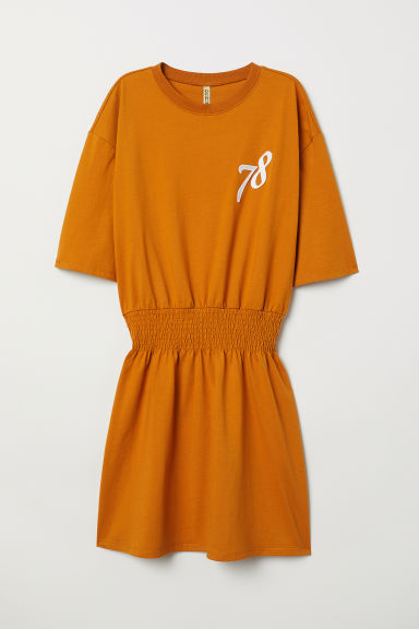 Jersey dress with smocking - Ochre -  | H&M