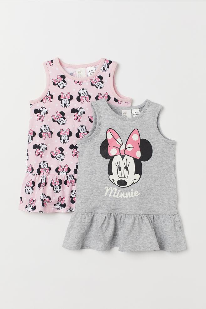 dd5bf346f7153a Set van 2 tricot jurken - Grijs gemêleerd Minnie Mouse - KINDEREN ...