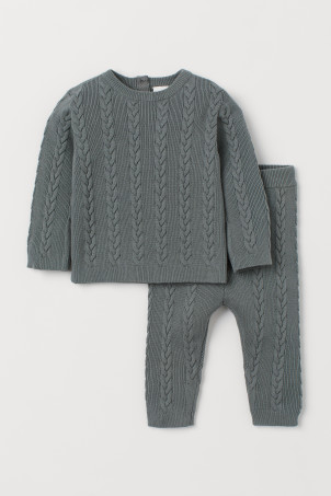 Cable-knit jumper and trousers