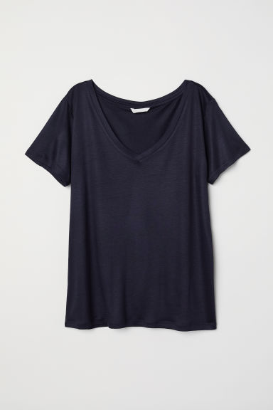 V-neck T-shirt - Dark blue - Ladies | H&M CN