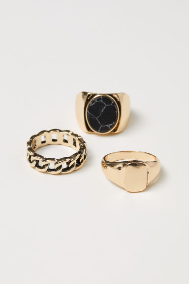 3-pack rings - Gold-coloured - Men | H&M
