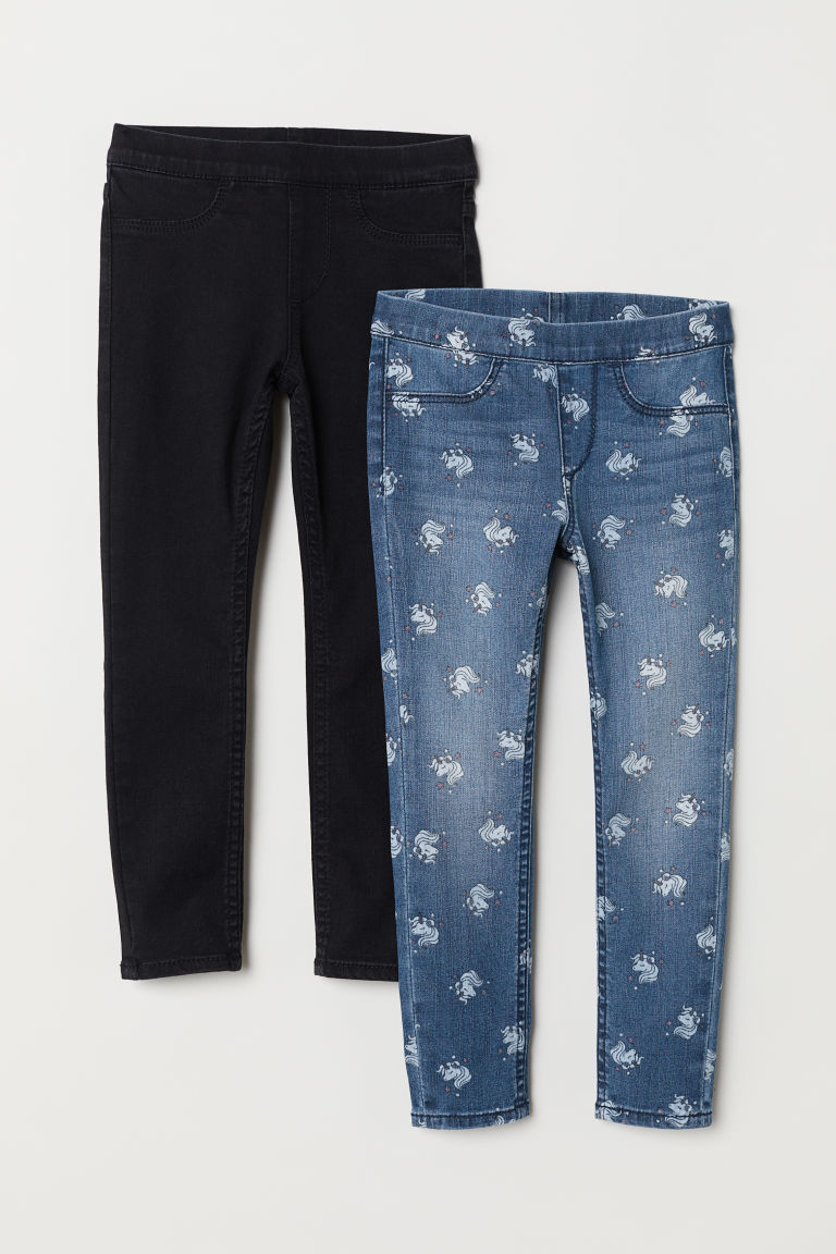2-pack denim leggings - Black/Unicorn - Kids | H&M CN