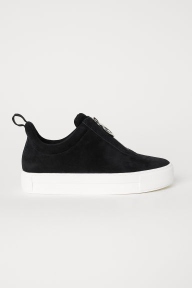 Pile-lined suede trainers - Black - Ladies | H&M CN