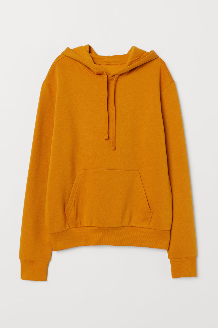 Hooded top with a motif - Mustard yellow -  | H&M