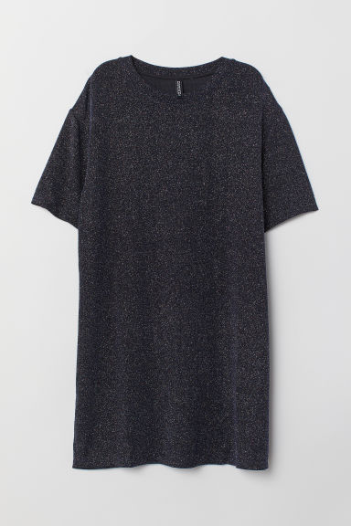 Abito a T-shirt con coating - Nero/glitter -  | H&M IT