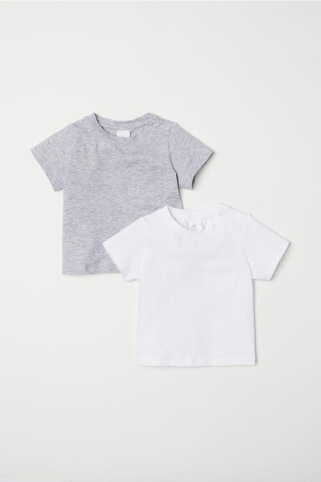 2 Pack Pima Cotton T Shirts Light Gray Melange Kids H M Us