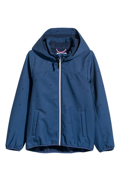 Hooded softshell jacket - Dark blue/Stars - Kids | H&M
