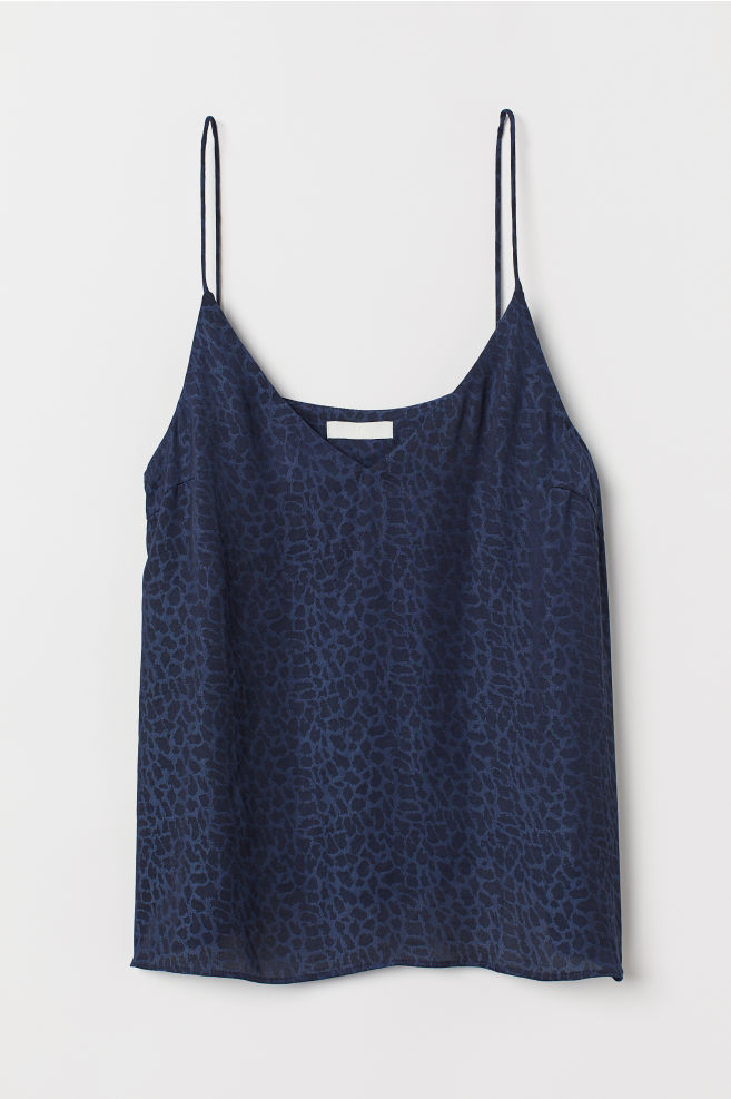 1f19f5eefe3a5 ... V-neck Camisole Top - Dark blue leopard print - Ladies