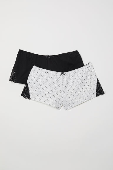 2-pack pyjama shorts - Black/Spotted - Ladies | H&M