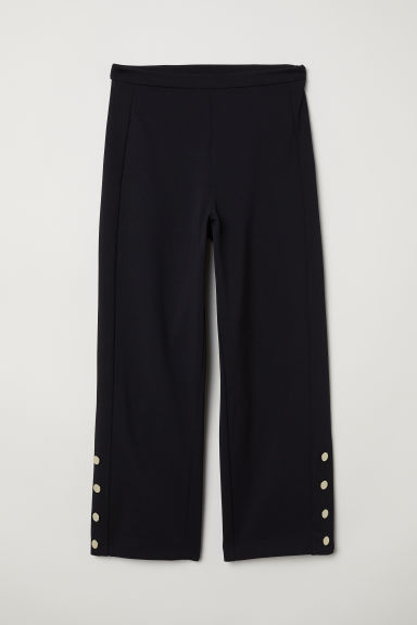 Trousers with side stripes - Black -  | H&M