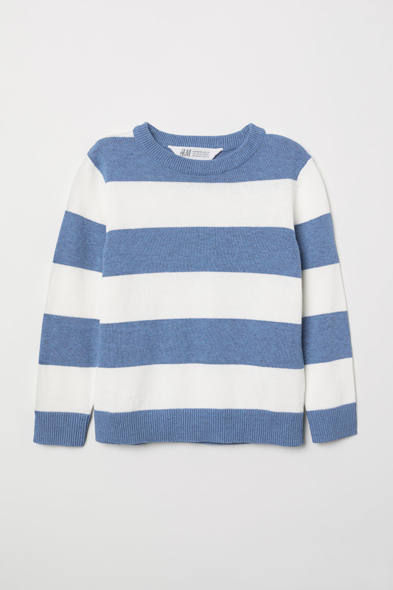 Fine-knit jumper - Blue/Grey striped - Kids | H&M