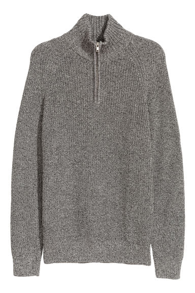 Ribbed jumper - Grey marl -  | H&M