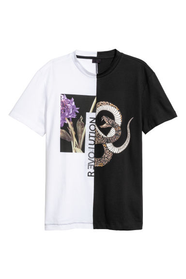 Printed T-shirt - White/Black - Men | H&M
