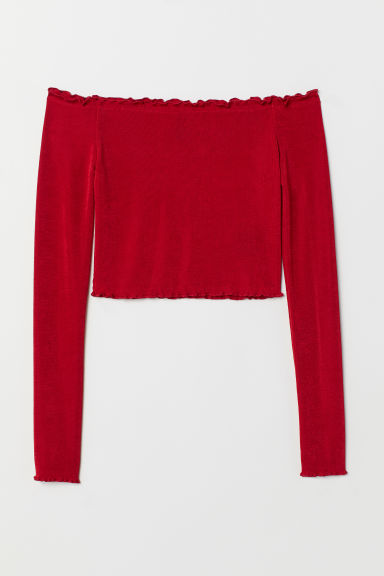 Off-the-shoulder top - Red - Ladies | H&M CN