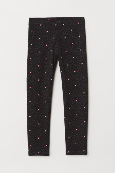 Sturdy jersey leggings - Black/Hearts -  | H&M