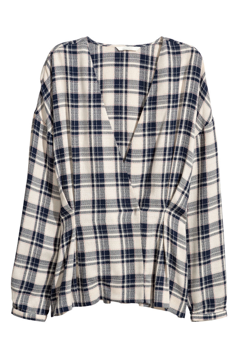 Double-breasted blouse - Natural/Blue checked - Ladies | H&M CN