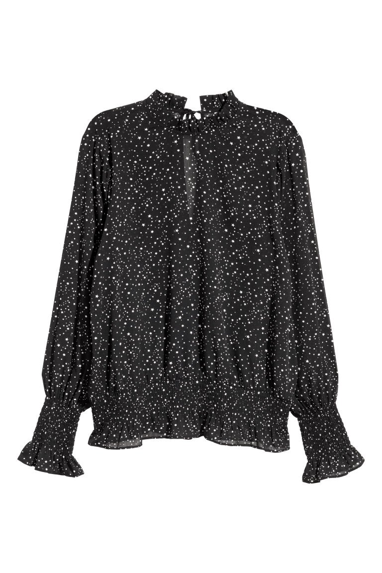 Crinkled chiffon blouse - Black/Stars - Ladies | H&M GB